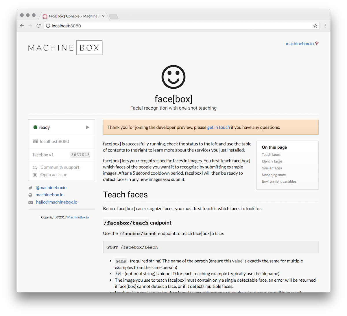 Facebox · Docs · Machine Box · Machine learning in a box